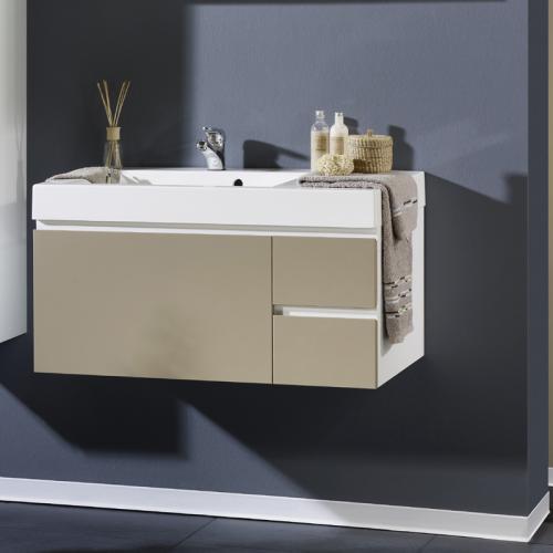 neu badezimmer waschplatz hochglanz cappuccino waschtisch waschbecken badm bel ebay. Black Bedroom Furniture Sets. Home Design Ideas