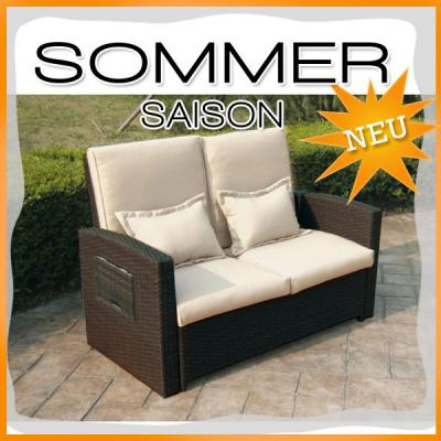 top 2er rattan funktionssofa mocca creme sofa lounge gartenm bel gartenliege ebay. Black Bedroom Furniture Sets. Home Design Ideas