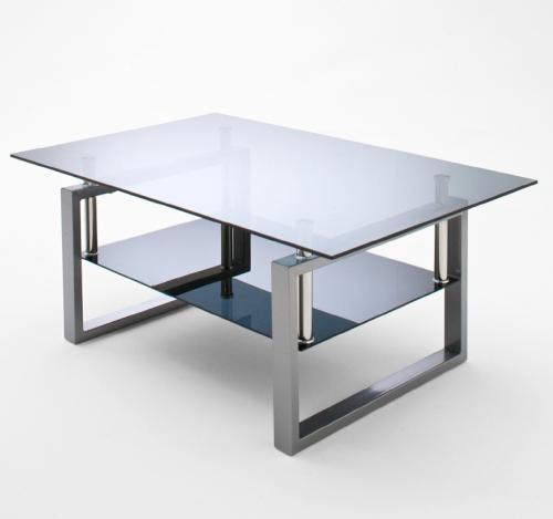 NEU Couchtisch Glastisch schwarz  grau Edelstahl