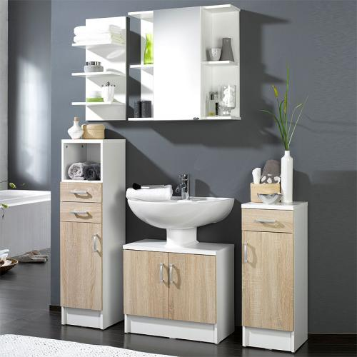 5 tlg badm bel set in eiche sonoma wei spiegelschrank badezimmerm bel ebay. Black Bedroom Furniture Sets. Home Design Ideas