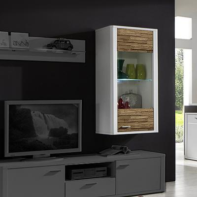 wow h ngevitrine wei mit spaltholz massiv led vitrine wohnzimmer h ngeschrank ebay. Black Bedroom Furniture Sets. Home Design Ideas