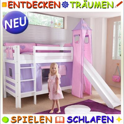 kinderzimmer etagenbett massiv wei zubeh r purple rutsche hochbett lattenrost ebay. Black Bedroom Furniture Sets. Home Design Ideas