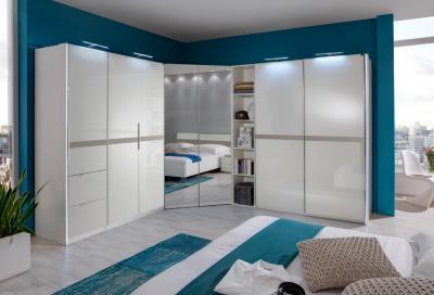 top schlafzimmer kleiderschrank hochglanz weiss eckkleiderschrank schwebet ren ebay. Black Bedroom Furniture Sets. Home Design Ideas