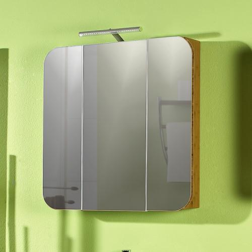 Badezimmer Spiegelschrank Bambus massiv seidenmatt   Badmöbel