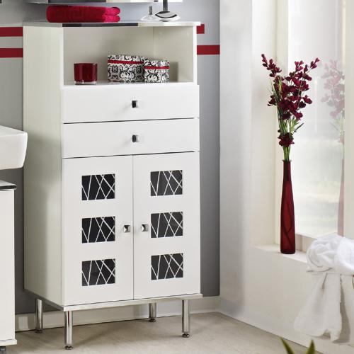 badm bel highboard wei wechsel bilderrahmen badezimmer schrank g ste wc ebay. Black Bedroom Furniture Sets. Home Design Ideas