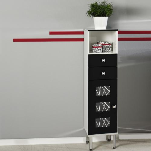 badm bel highboard schwarz wechsel bilderrahmen badezimmer schrank g ste wc ebay. Black Bedroom Furniture Sets. Home Design Ideas