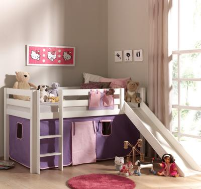 wow kinder hochbett massiv weiss rutsche lattenrost vorhang kinderbett spielbett. Black Bedroom Furniture Sets. Home Design Ideas