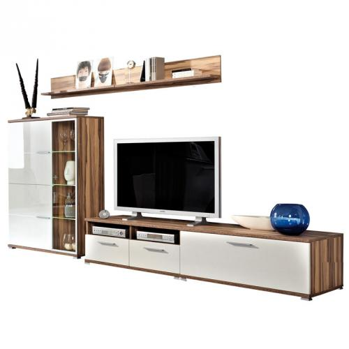 neu wohnwand hochglanz wei walnuss anbauwand wohnzimmerwand vitrine lowboard ebay. Black Bedroom Furniture Sets. Home Design Ideas