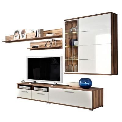 neu 6 tlg wohnwand hochglanz wei walnuss anbauwand schrankwand tv kommode ebay. Black Bedroom Furniture Sets. Home Design Ideas