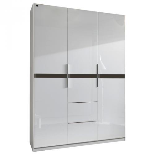 kleiderschrank hochglanz wei grau 150cm schlafzimmerschrank dielen flurschrank ebay. Black Bedroom Furniture Sets. Home Design Ideas