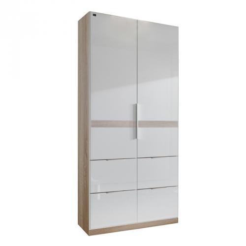 kleiderschrank hochglanz wei eiche s gerau 100cm. Black Bedroom Furniture Sets. Home Design Ideas