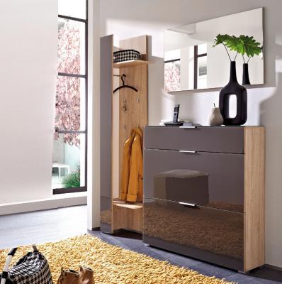 neu 3tlg garderoben set eiche glas graphit schuhschrank spiegel flur garderobe ebay. Black Bedroom Furniture Sets. Home Design Ideas