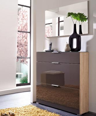 neu 2tlg garderoben set eiche glas graphit schuhschrank spiegel flur garderobe ebay. Black Bedroom Furniture Sets. Home Design Ideas