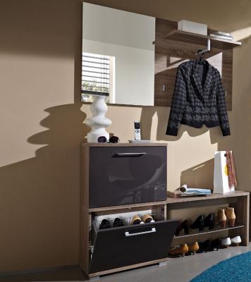 top 3tlg garderobe eiche hochglanz graphit schuhschrank schuhbank regal kommode ebay. Black Bedroom Furniture Sets. Home Design Ideas