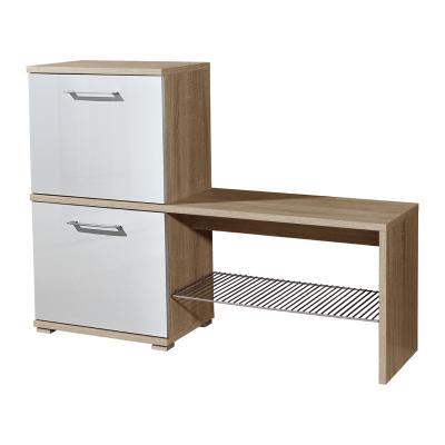 top schuhschrank eiche sonoma weiss kommode schuhkipper schuhkommode schuhbank ebay. Black Bedroom Furniture Sets. Home Design Ideas