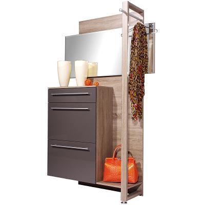 top garderobe hochglanz graphit eiche schuhschrank. Black Bedroom Furniture Sets. Home Design Ideas