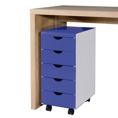 WOW* Schreibtisch Rollcontainer weiß - Metall blau Büromöbel ...