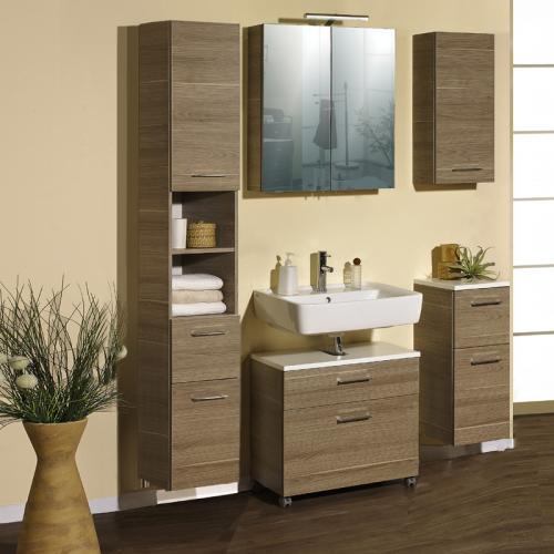 badezimmer 5 tlg eiche grau badm bel badset spiegelschrank waschtisch g ste wc ebay. Black Bedroom Furniture Sets. Home Design Ideas