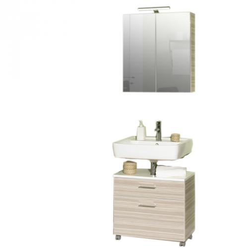 badezimmer 2 tlg in zebrino beige badm bel spiegelschrank waschtisch g ste wc ebay. Black Bedroom Furniture Sets. Home Design Ideas