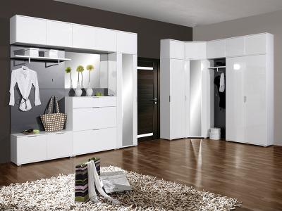 neu komplett flur garderobe hochglanz wei schuhschrank kleiderschrank flurm bel ebay. Black Bedroom Furniture Sets. Home Design Ideas