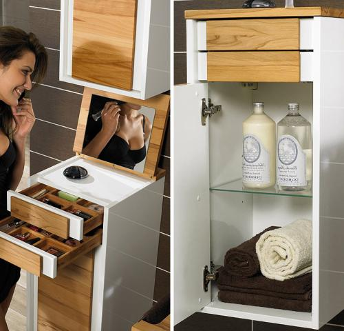Neu badm bel unterschrank hochglanz wei kernbuche badezimmer kosmetik schrank ebay - Badmobel kernbuche ...
