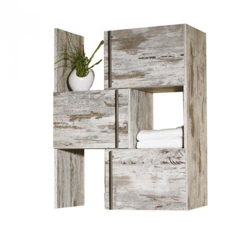 badezimmer schieberegal in eiche antik badm bel g ste wc bad regal ablage ebay. Black Bedroom Furniture Sets. Home Design Ideas