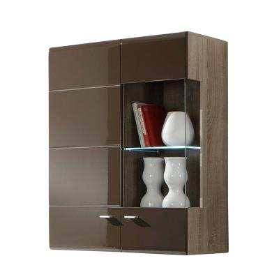neu vitrine hochglanz schoko tr ffel eiche wohnzimmer. Black Bedroom Furniture Sets. Home Design Ideas