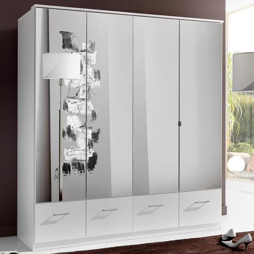 Neu 180cm kleiderschrank wei schlafzimmerschrank for Schlafzimmerschrank spiegel