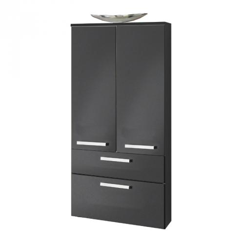 badezimmer hochschrank hochglanz anthrazit badm bel g ste wc bad schrank ebay. Black Bedroom Furniture Sets. Home Design Ideas
