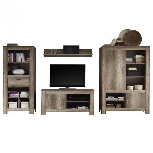 neu wohnwand eiche used look wohnzimmer anbauwand hifi. Black Bedroom Furniture Sets. Home Design Ideas