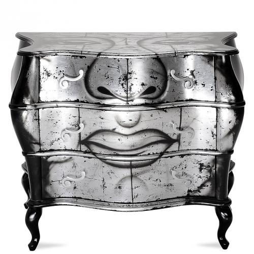 design kommode schwarz silber sideboard wohnzimmer schrank. Black Bedroom Furniture Sets. Home Design Ideas