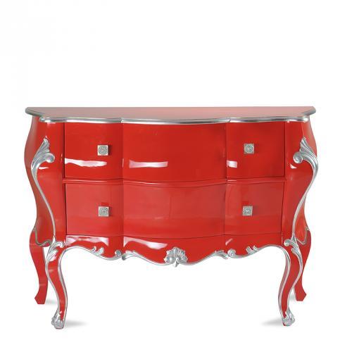 TOP Design Kommode Rot Silber Sideboard Wohnzimmer Schrank