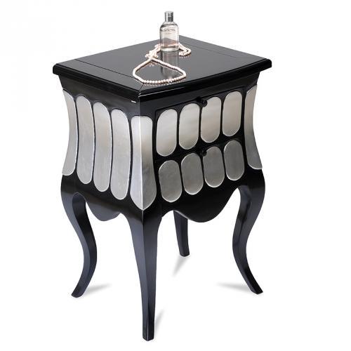 design schmink kommode schwarz silber schminktisch kommode beistelltisch tisch. Black Bedroom Furniture Sets. Home Design Ideas