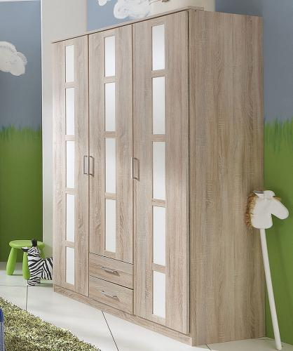 NEU 135cm Kleiderschrank in Eiche sägerau - weiß Babyzimmer ...
