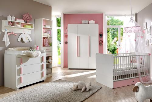 neu komplett babyzimmer wei rosa kleiderschrank. Black Bedroom Furniture Sets. Home Design Ideas