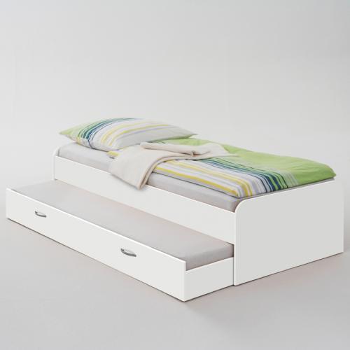 Bett ausziehbar wei 2x 90x200cm jugendbett kinderbett for Bett ausziehbar