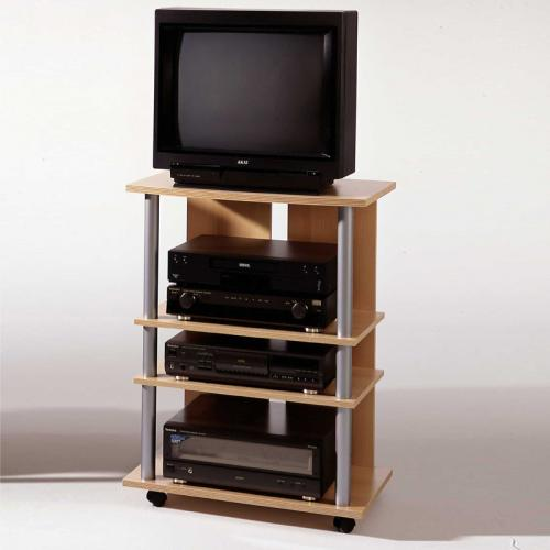 tv hifi rack buche nachbildung fernsehtisch tv kommode tv regal rollbar ebay. Black Bedroom Furniture Sets. Home Design Ideas