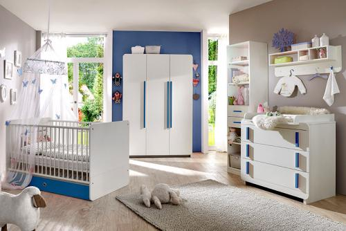 neu komplett babyzimmer wei blau kleiderschrank. Black Bedroom Furniture Sets. Home Design Ideas