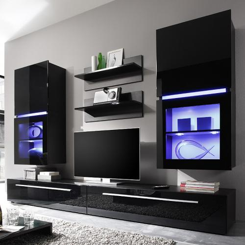 teilig hochglanz schwarz wohnzimmer schrank wandschrank tv kommode. Black Bedroom Furniture Sets. Home Design Ideas