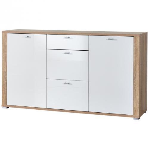 neu sideboard sonoma eiche hochglanz wei schrank wohnzimmer kommode anrichte ebay. Black Bedroom Furniture Sets. Home Design Ideas