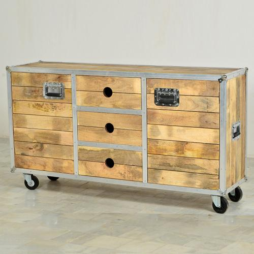 sideboard mangoholz natur alu rollbar kommode anrichte wohnzimmer schrank ebay. Black Bedroom Furniture Sets. Home Design Ideas