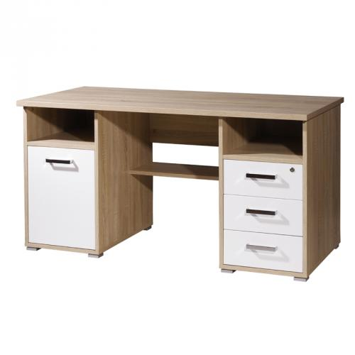 computertisch eiche hochglanz wei arbeitsplatz schreibtisch pc tisch b rom bel ebay. Black Bedroom Furniture Sets. Home Design Ideas