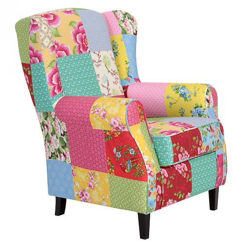 neu traumhafter ohrensessel patchwork polstersessel. Black Bedroom Furniture Sets. Home Design Ideas