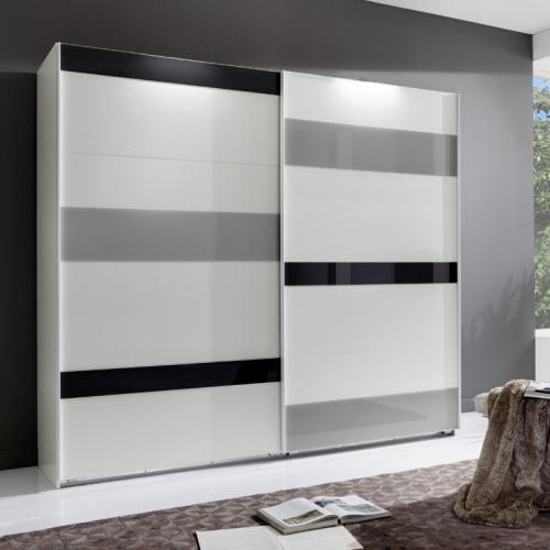 225cm kleiderschrank wei glasfronten schwebet ren schrank schlafzimmerschrank ebay. Black Bedroom Furniture Sets. Home Design Ideas