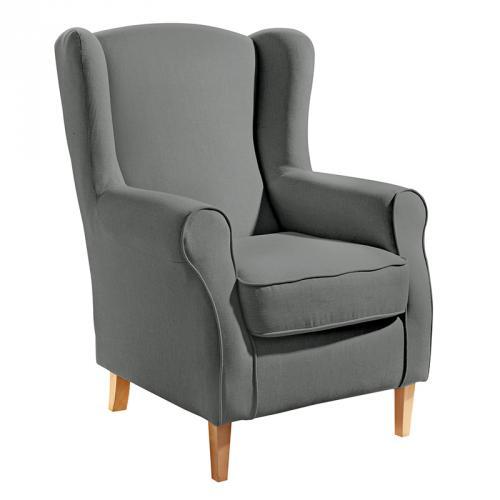 wow exklusiver ohrensessel grau fernsehsessel polstersessel wohnsessel ebay. Black Bedroom Furniture Sets. Home Design Ideas