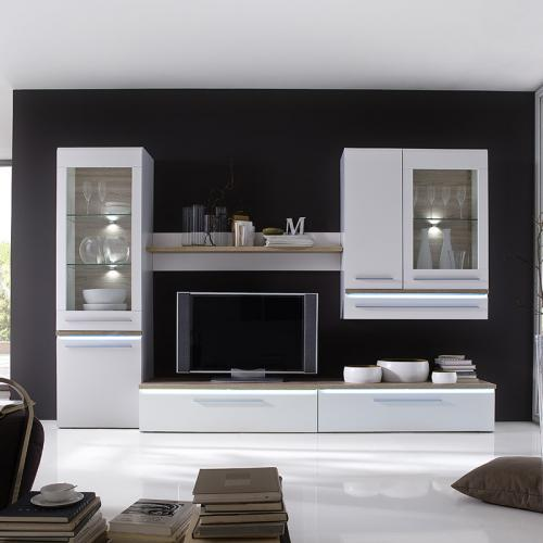 wow 5 tlg wohnwand super matt wei led wohnzimmer anbauwand schrankwand vitrine ebay. Black Bedroom Furniture Sets. Home Design Ideas