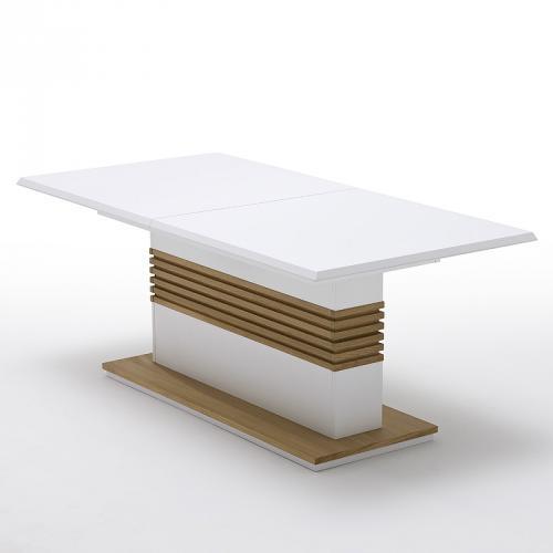 esstisch wei matt lackiert eiche matt geb rstet ausziehbar esszimmer tisch ebay. Black Bedroom Furniture Sets. Home Design Ideas