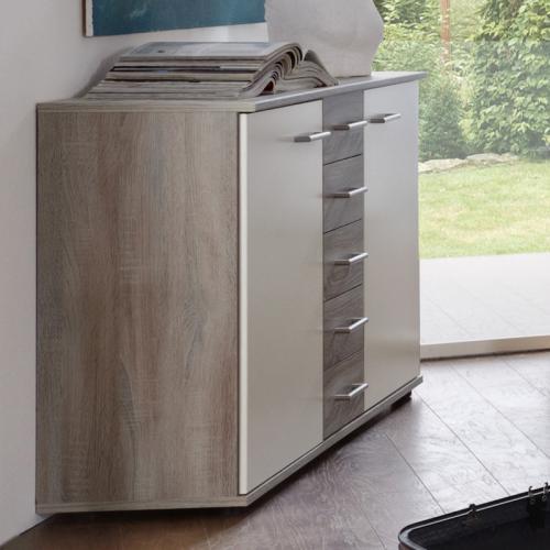 kommode montana eiche wei schubkastenkommode sideboard schlafzimmerschrank ebay. Black Bedroom Furniture Sets. Home Design Ideas