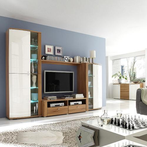wohnwand inkl sideboard creme hochglanz kernbuche wohnzimmer schrank kommode ebay. Black Bedroom Furniture Sets. Home Design Ideas