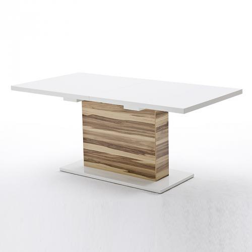 esszimmer ausziehtisch wei matt satin nussbaum. Black Bedroom Furniture Sets. Home Design Ideas